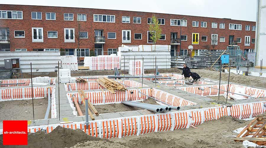 Zelfbouw Blok 59 IJburg Amsterdam fundering gereed